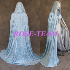 Fantasia Gothic Medieval Hooded Light Blue Velvet and Silver Satin Cloak Cape Robe Wedding Wicca Vampire Cape For Halloween