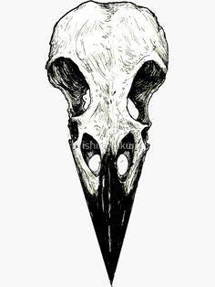 'Raven Skull' sticker by WishingInkwell - Lombn Sites Bird Skull Tattoo, Deer Skull Tattoos, Crow Skull, Raven Tattoo, Skull Tattoo Design, Skull Design, Skull Art, Dark Art Tattoo, Deer Tattoo