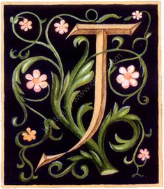 Valerie Cuthbert - Artist: Illuminated J with black background and flowers
