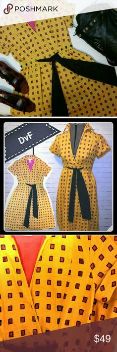 15% off BUNDLES Adorable Top Wrap Dress with Belt So cute! Yellow cut out overlay with pink under. Top is a faux wrap style. Full skirt with black inset belt. Diane von Furstenberg Dresses