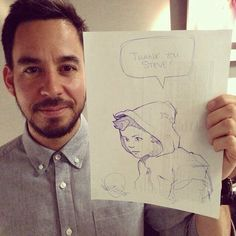 mike shinoda and his drawing Dead By Sunrise, Brad Delson, Joe Hahn, Rob Bourdon, Mike Shinoda, Best Rapper, Chester Bennington, Linkin Park, Cool Bands