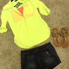 Yellow sheer blouse with pink bandeau