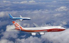 New Boeing 787 Dreamliner and Boeing 747-8