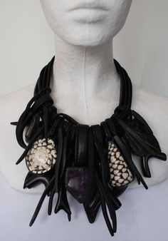 Monies Amethyst, Horn, Shell, Warthog, Ebony, Leather & Crystal Necklace image 4