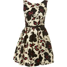 Floral Printed A-Line Dress ($73) ❤ liked on Polyvore