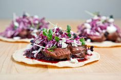 These Duck Tacos sound amazing except for the 2 cups of red cabbage which ruins the dish. Replace with shaved carrots and basil. I Duck Tacos with Chipotle Cherry Salsa and Crumbled Goat Cheese Duck Recipes, Mexican Food Recipes, Game Recipes, Quesadillas, Tostadas, Enchiladas, Nachos, Cherry Salsa, Specialty Meats