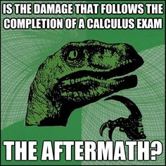Calculus humor is the damage that follows the completion of a calculus exam the aftermath?
