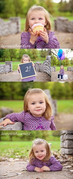 Two-year-old girl's birthday milestone portraits on an antique stone bridge. Props include a cupcake, chalkboard, and balloons.: