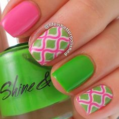 Pink and green nails. Nail art. Nail design. Polish. Polishes. @lifeisbetterpolished