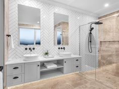 Flascon Construction Group - AZURÉ Camp Hill - Hamptons style master ensuite featuring custom grey shaker cabinetry, black hardware and fixtures. White herringbone tiles contrast beautifully with the travertine floors in this bathroom. Bathroom Styling, Bathroom Interior Design, Decor Interior Design, Interior Decorating, Decorating Ideas, White Vanity Bathroom, Small Bathroom, Bathroom Beadboard, Rental Bathroom