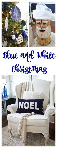 Christmas in the Family Room at the Lake - 2 Bees in a Pod Coastal Christmas, Noel Christmas, White Christmas, Christmas Ideas, Blue Christmas Tree Decorations, Christmas Tree Trimming, Christmas Activities For Families, Winter Wonderland Christmas, Lake Decor
