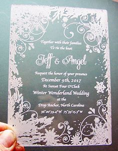 Clear acrylic with the design laser engraved in a frosty white. This design is available for free personalization with an order. Snowflake Invitations, Wedding Invitation Fonts, Quince Invitations, Acrylic Invitations, Wedding Invitations Online, Winter Wedding Invitations, Quinceanera Invitations, Invitation Ideas, Invites