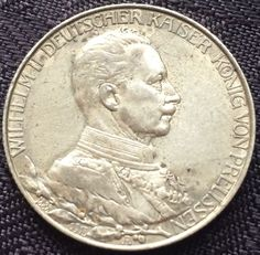 Coin: ($21) 1913-A Silver German Empire Prussia Zwei Marks/2 Marks Coin.