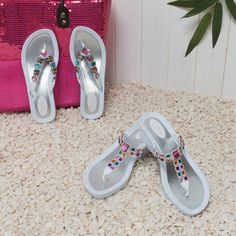 Pia Rossini Summer Pool Shoes, Jewelled White