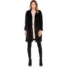 Arielle Rabbit Fur Long Coat Jackets & Coats ($539) ❤ liked on Polyvore featuring outerwear, coats, coats & jackets, rabbit fur coat, rabbit coat, longline coat and long coat