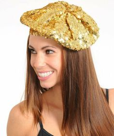 All Over Lined Womens Fashion Sequin Beret Hat