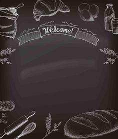 Cafe Menu Design, Food Menu Design, Restaurant Menu Design, Food Background Wallpapers, Food Backgrounds, Food Graphic Design, Food Poster Design, Pizza Background, Chalkboard Wallpaper