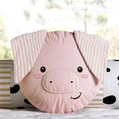 Dyi Pillows, Sewing Pillows, Baby Pillows, Kids Pillows, Animal Pillows, Cushions, Pig Crafts, Farm Quilt, Cot Bumper