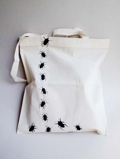 hand painted tote bag - bugs