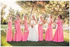 Beautiful pink bridesmaids dresses with a perfect floral combination.   // Photos by http://www.trevordayley.com