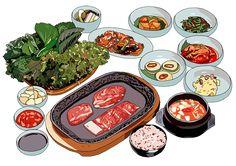 푸드 컨텐츠 일러스트 (Food illustration) & 한국보건산업진흥원 식단구성