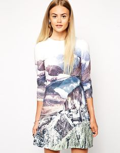 Image 1 of ASOS A-Line Scuba Dress with Long Sleeves in Mountain Print