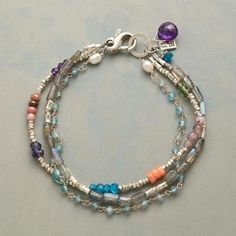 "OMNIBUS BRACELET - Strands of apatite, labradorite, rhodonite, iolite, amethyst, lilac jade, peach coral and pearl—all three sparked with sterling silver. Exclusive multi-strand bracelet handmade in USA. Lobster clasp. Approx. 7-1/2""L."