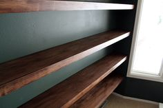 DIY Solid Wood Wall-to-Wall Shelves - Chris Loves Julia
