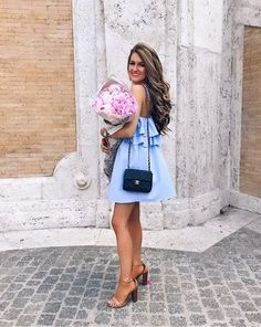 chambray dress and nude heels