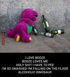 Things have gotten a little rough for Barney over the years.