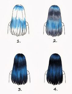 colouring black hair with C3/C5/C7/C9/B45 Copic Multiliner SP 0,1 und Brush