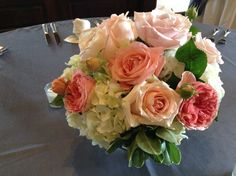 Fresh Spring Bouquet - perfect against BBJ Gunmetal Grey Shantung linen