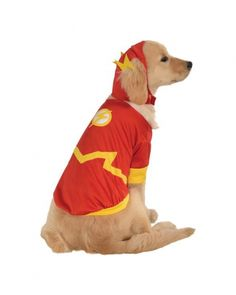 SuperHero Flash Pet Costume - 4 sizes  This cute The Flash Pet Costume includes a red and yellow body piece with lightening bold detail, and the matching red and yellow headpiece.  Head piece has slots for the ears and body piece has hook and loop closures.  This is an Officially Licensed costume.