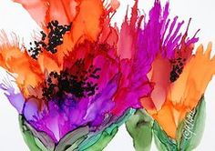 Alcohol Ink Art - Poppy Delight by Donna Pierce-Clark