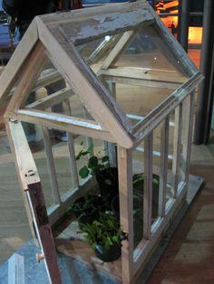 repurposed window pane for garden