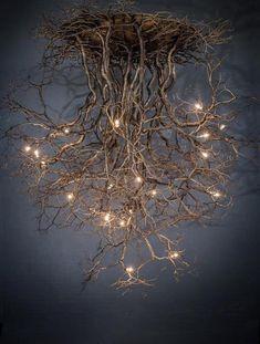 Suspended Lighting, Rustic Lighting, Home Lighting, Diy Chandelier, Cool Ideas, Tree Art, Wood Art, Silver Color, Light Fixtures