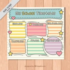 Hand drawn school timetable in a notebook sheet Premium Vector School Timetable, Birthday Charts, School Subjects, Infant Activities, I School, Hand Lettering, How To Draw Hands, Clip Art, Classroom