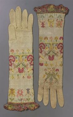 Embroidered silk knitted gloves, Italian, 1650-1700.