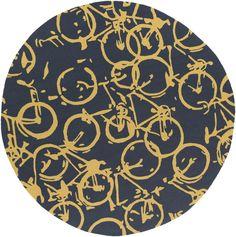 Surya PDM1000 Pandemonium Blue, Yellow Round Area Rug