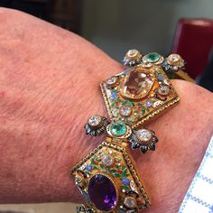 19th century Viennese bracelet~ 18k gold enameled and set with semi-precious gems.