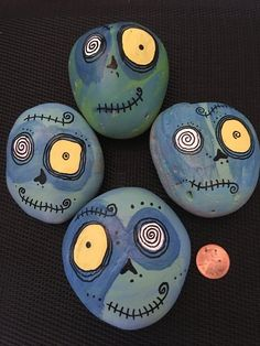 Your place to buy and sell all things handmade Rock Painting Ideas Easy, Rock Painting Designs, Painting For Kids, Pebble Painting, Pebble Art, Stone Painting, Zombie Pumpkins, Halloween Pumpkins, Stone Crafts