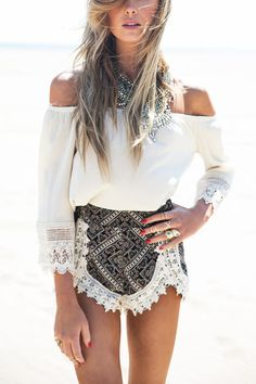 Just add this two-piece corchet lace style into closet. It is including off shoulder, 3/4 length sleeves top and bohemia pattern shorts. Wear this co-ord whenever you like. Enjoy your time. #Bohemian #Poet_Style #Romper #Playsuit
