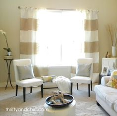 Thrifty and Chic: Striped Burlap Curtains-- how to make striped burlap curtains. maybe black burlap instead of white?