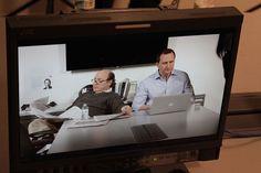 Brad and Luke as seen through the monitor.