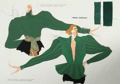 Description :  Three John Galliano fashion sketches 'Winter Collection', circa 1982, un-signed, worked in pencil, crayon and gouache, mainly in green and black including matador jackets and frilled blouses, one with fabric swatches, 30 by 41cm, 12 by 16in (3)