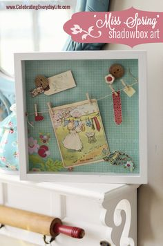 """""""Miss Spring"""" Shadowbox Art, Celebrating Everyday Life with Jennifer Carroll for The Graphics Fairy."""