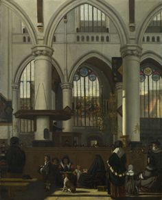 The Interior of the Oude Kerk, Amsterdam about 1660, Emanuel de WitteThis is a fairly accurate view of the nave and south aisle of the Oude Kerk (St Nicholas), Amsterdam. The scene has been slightly altered by the artist: the small organ is incorrectly shown in the south aisle rather than in the north aisle were it was actually placed. The view is taken from the north aisle,  National galleryLondon