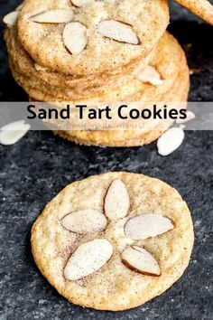 Sand Tarts are thin, crisp, buttery, cinnamon sugar cookies with almond slices on top. This Sand Tart recipe is a Pennsylvania Dutch, or Amish cookie recipe your whole family will love. Make this classic christmas cookie recipe for the holidays and share Amish Sugar Cookies, Cinnamon Sugar Cookies, Almond Meal Cookies, Cookies Et Biscuits, Tea Biscuits, Classic Christmas Cookie Recipe, Holiday Cookie Recipes, Best Cookie Recipes, Christmas Cookies