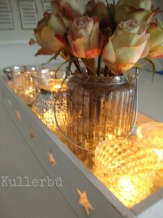 *Kullerbü*: Flower-Friday #13 Candle Lanterns, Candles, Friday, Table Decorations, Furniture, Home Decor, Bottle, Bottles, Roses