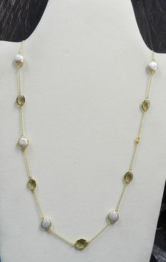 Light Smoky Quartz and Pearl Uneven Bezel Silver Gold Plated long Chain Necklace #Handmade #Chain
